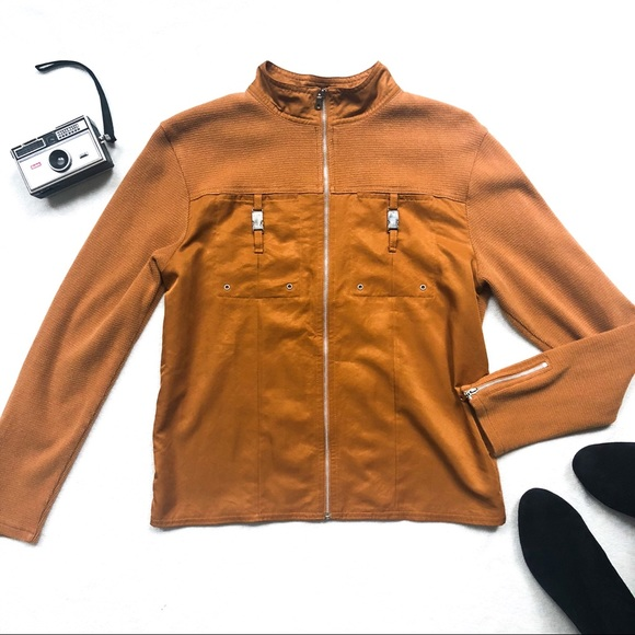 Coldwater Creek Jackets & Blazers - Coldwater Creek Lightweight Camel Moto Jacket